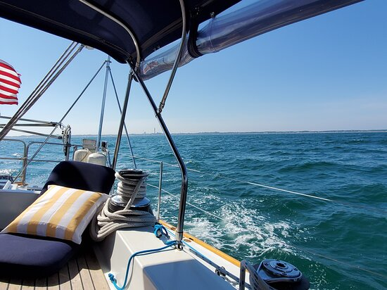 Four Hour Sail - Provincetown: Beautiful view out the back of the Moment.