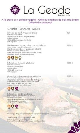 Carta Restaurante La Geoda