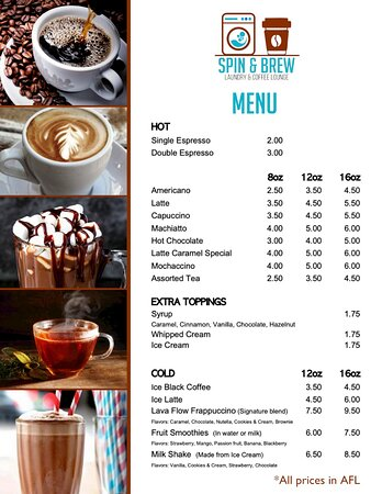 Our Coffee Menu with the best prices in the market