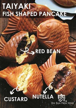 FISH shaped pancake.  6 different taste: chocolate, nutella, matcha custard, cheese, red bean, taro!!!