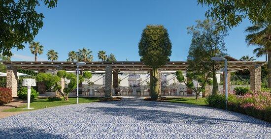 Parco maiolicato Oltre 20.000 mq di parco lambiscono l'hotel, un cuore verde che riempie di note profumate il Savoy. Dagli ulivi secolari ai roseti, passando per le siepi di Eugenia e i colori brillanti della Bouganville, il parco è una riserva di ossigeno e una fonte di relax per la vista.Le ampie metrature verdi sono intervallate da pavimentazioni in maioliche vietresi che apportano eleganza, vitalità e colore.