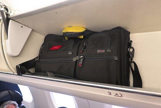United Airlines: UA5435 Phoenix to Los Angeles ERJ-175 (#N143SY) FC Seats 3A - Port side overhead bins