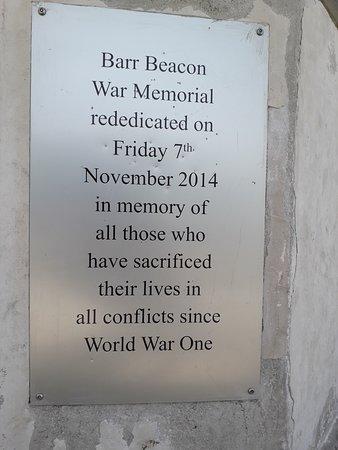 plaque at Barr Beacon War Memorial