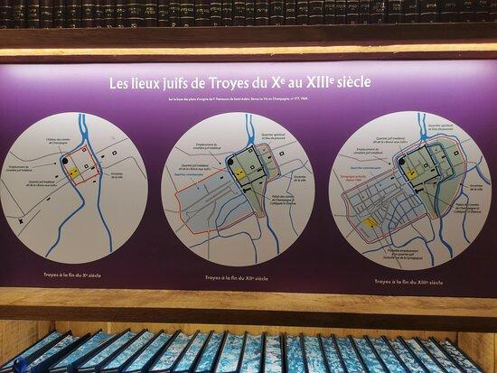 Panneau expliquant les lieux juifs de Troyes au Moyen-Âge