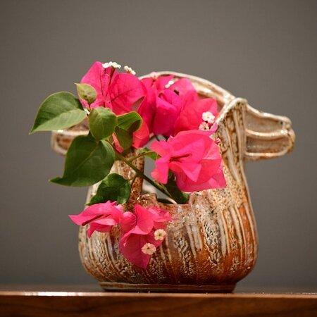Ikebana Shino glazed vase Handmade in Bermuda in our studio at the Royal Naval Dockyard