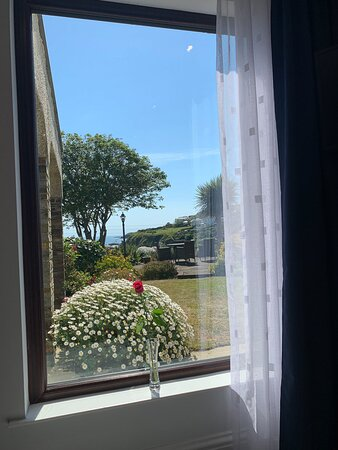 Lovely sea and garden view from the new window in our Heligan room,