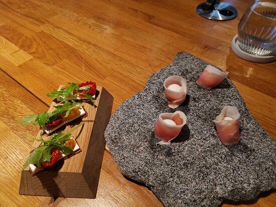 Quail egg and ham