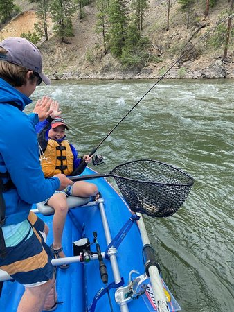 Netting a first fish on the Alberton Gorge on the Clark Fork River