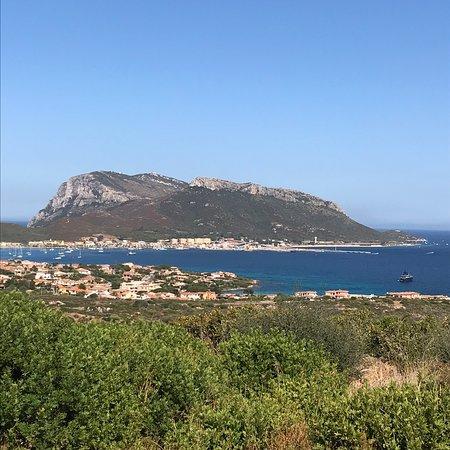 Veduta di Golfo Aranci , Isole di Tavolara  e Figarolo.