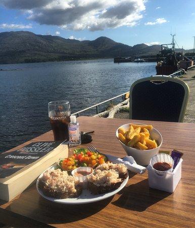Tuosist, Ireland: enjoying a crab sandwich in the sunshine. Heaven.