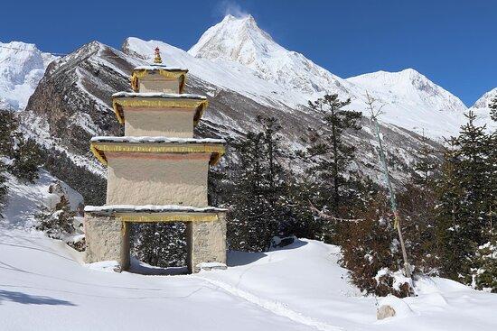 Manaslu Circuit Trek: It gets snowy in the upper regions.