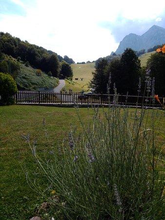 ...La vista sulle montagne dal giardino del ristorante..