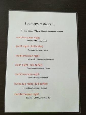 Der Abendliche Speiseplan für das Hauptrestaurant!