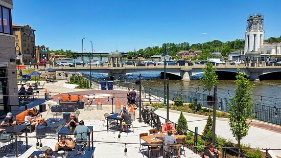 The amazing view of the Fox River from the upper deck of our container bar on the patio.