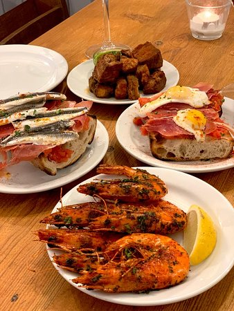 Pork Belly, Quails Eggs & Jamon Pinchos, Seared King Prawns, Anchovy & Jamon Pinchos