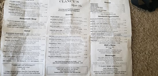 Menu from Clancy's by the sea