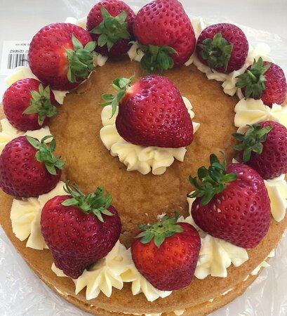 Homemade Strawberry Victoria Spong Cake.