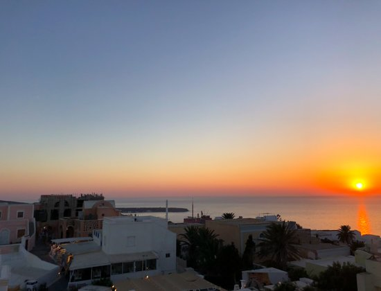 vue sur le coucher de soleil depuis le 2e étage.