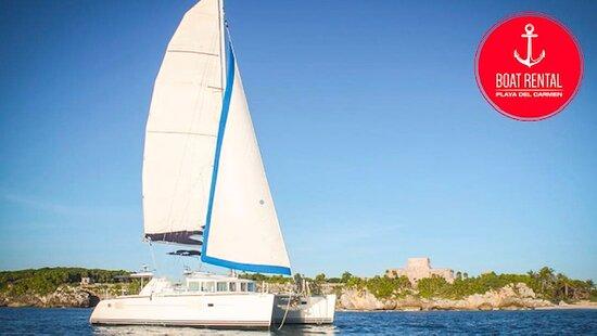 Rent a catamaran 44ft in Playa Del Carmen! go fishing and snorkeling! www.boatrentalplayadelcarmen.com