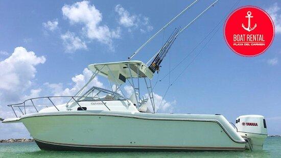 Rent a fishing boat 29ft in Playa Del Carmen! go fishing and snorkeling! www.boatrentalplayadelcarmen.com