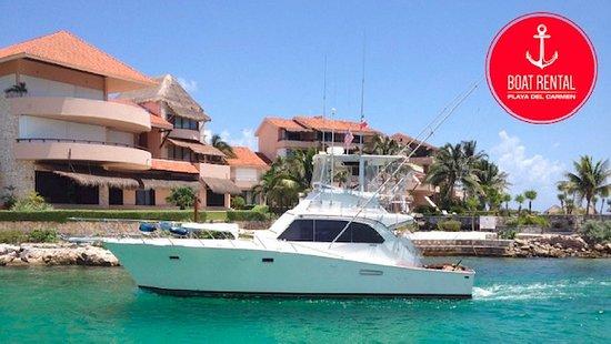 Rent a fishing boat 42ft in Playa Del Carmen! go fishing and snorkeling! www.boatrentalplayadelcarmen.com