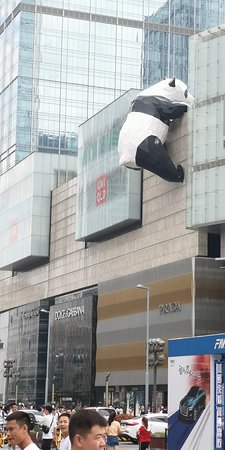Giant panda on facade