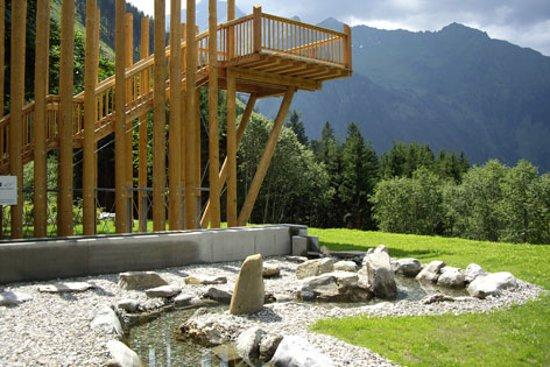The platform gives you the best view of the mountains and the Kneipp facility.
