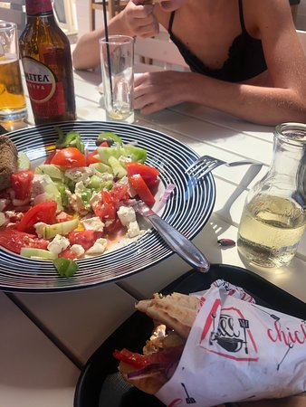 Really fresh Greek Salad!  We polished it off in no time!