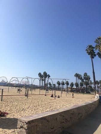 Muscle Beach Venice: The area is all on the beach.
