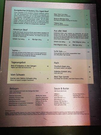 Speisenkarte: Fleisch und Fisch vom Grill