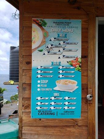Parlatuvier, Tobago : Menu at Paradise Point Finger Licking