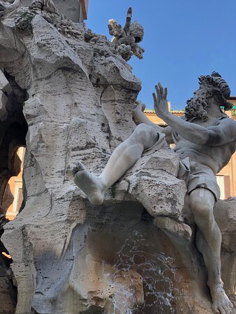 Detail from the Bernini's 16th century marble fountain, Fountain of Four Rivers