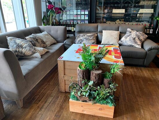 Comfy sofa settings available for small group gatherings and celebrations.