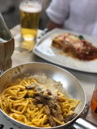We liked the way that the pasta was served hot, brought directly to the table in little pans.