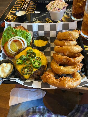 Jalapeño burger with great homemade onion rings.