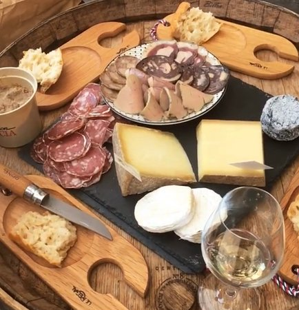 Marché Victor Hugo Small Group Food Tour: The wine, cheese, and charcuterie we enjoyed at the end of the tour!