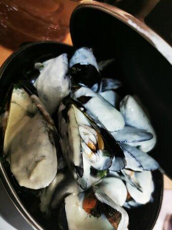 Moules frites sauce roquefort