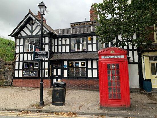 Frodsham and very rare red phone box in Cheshire