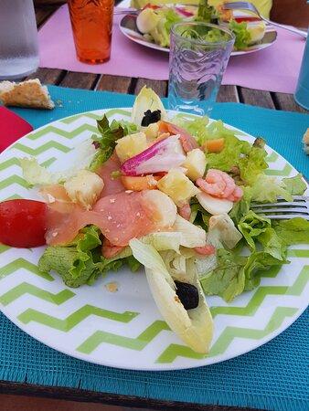 Durfort-et-Saint-Martin-de-Sossenac, France : salade verte avec coeur de palmier ,saumon,crevettes,tomates,ananas,melon