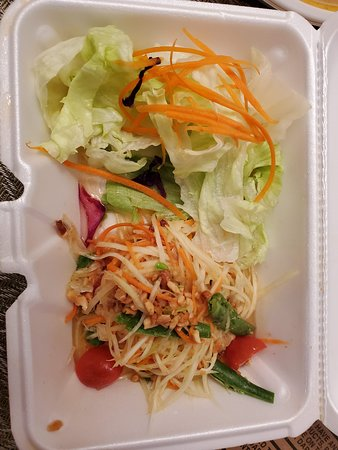Awful. Sauce tasted like pure white vinegar. Salad was a few pieces of iceberg. Papaya was shredded. Wasted $9.
