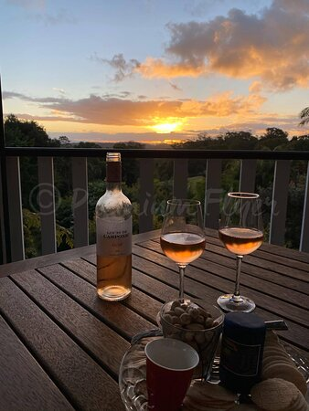 Wine & Cheese on the deck during sunset.