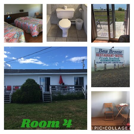 Pocologan, كندا: Unit 4, double bed room motel comfy, full bath with fresh line dried towels, small soaps.  Small couch, bistro table.  Good size TV with satellite, good selection of channels.   Room was very clean but basic.  Small deck with patio access, amazing oceanfront view.  Fall asleep to sound of waves.  