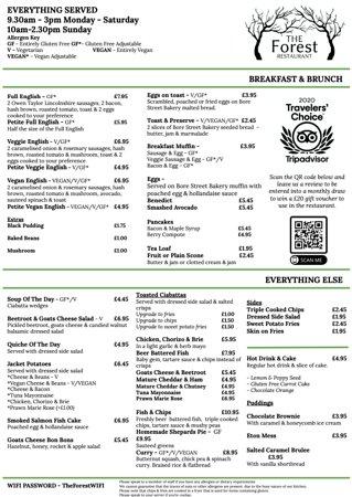 Example of menu