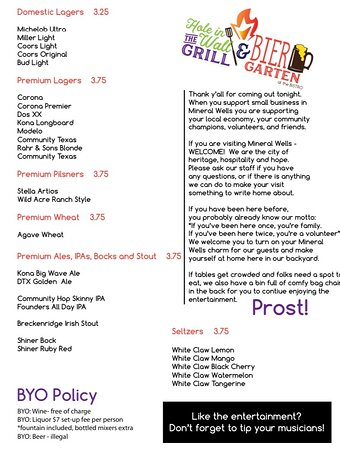 """Brazos Market & Bistro: This is the updated menu for the patio """"Hole in the Wall & Bier Garten"""" opens on Friday and Saturday nights."""