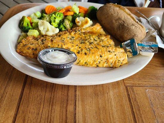 White Lake, MI: Pan fried Walleye fish dinner.