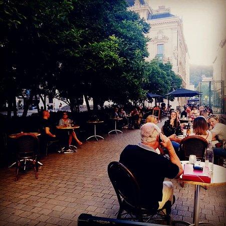 La Scene Brasserie: Rien de plus relaxant que de prendre un verre sur la place des Célestins, à l'ombre des magnolias et à l'écart du traffic urbain