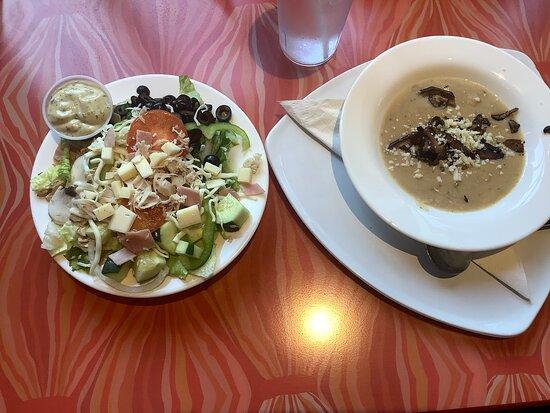 Mushroom soup and loaded salad