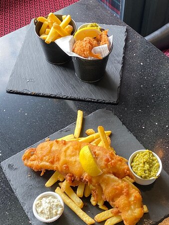King prawn scampi and battered haddock