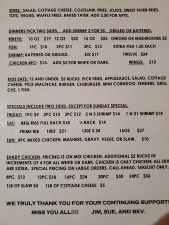 Cornell, WI: The munu...good prices!