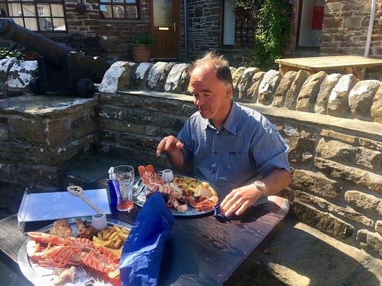 St. Margaret's Hope, UK: Keith enjoying his lobster